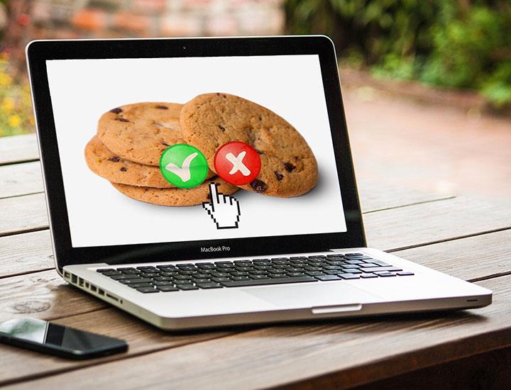 Laptop showing cookies