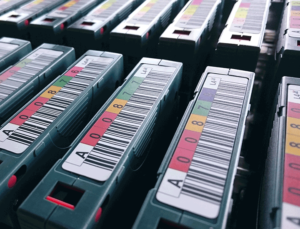 Row of backup tapes